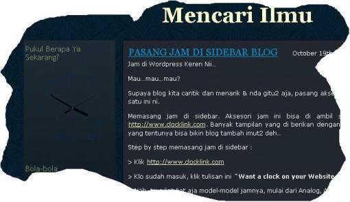Jam sidebar blog